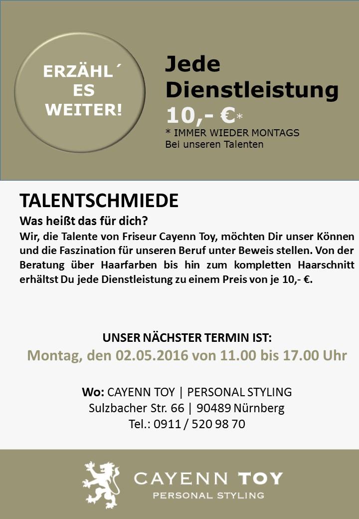Talentschmiede mit Termin 02.05.2016