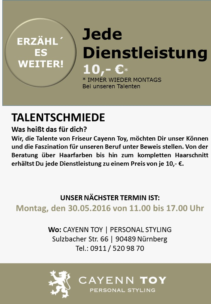 Talentschmiede mit Termin 30.05.2016